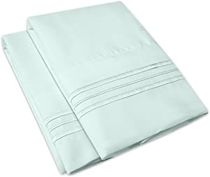 1500 Supreme Collection 2 Pack Bed Pillow Cases - Luxury Embroidered Premium Softness and Wrinkle Resistant Breathable Additional Pillowcases for Bed Sheets - 12 Colors - Standard, Light Blue