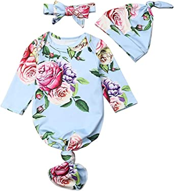 Newborn Baby Unisex Sleeping Gown Floral Knotted Cotton Sleepwear Long Sleeve Hat Nightgowns /& Headband Outfits Set