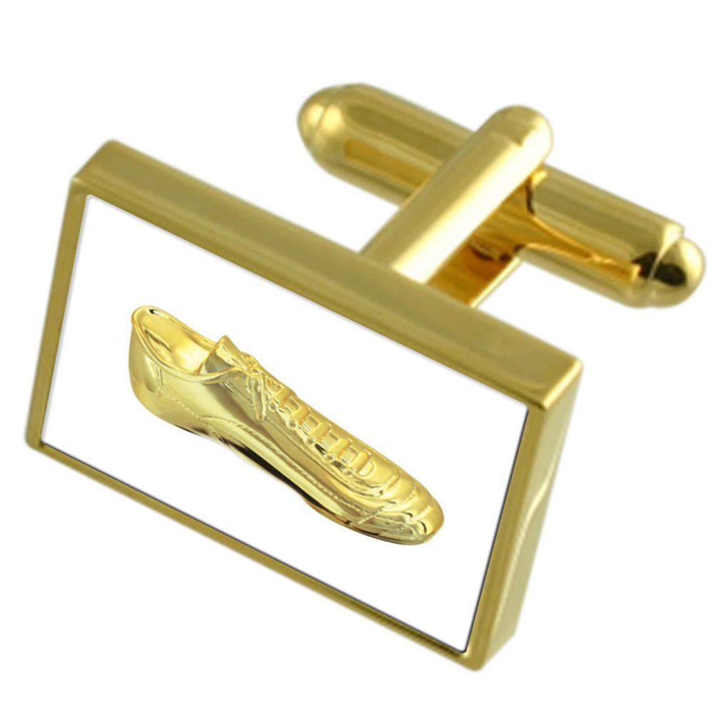 Golden Football Rugby Boot Gole-tone Cufflinks Tie Clip Box Set Engraved Optional