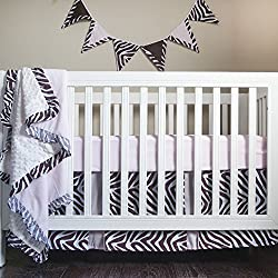 Pam Grace Creations Four Piece Crib Set, Simply Zebra Brown and Pink, 8 Count