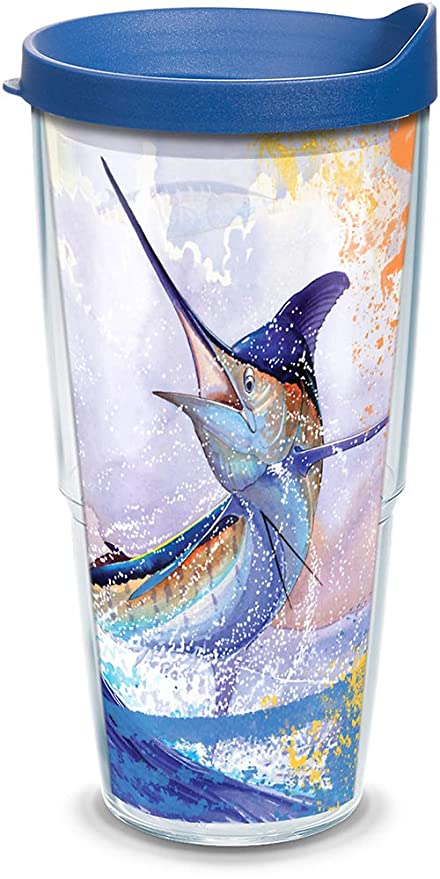 c049e0745ae Amazon.com   Tervis 1133266 Guy Harvey - Big Blue Marlin Tumbler with Wrap  and Blue Lid 24oz, Clear: Tumblers & Water Glasses