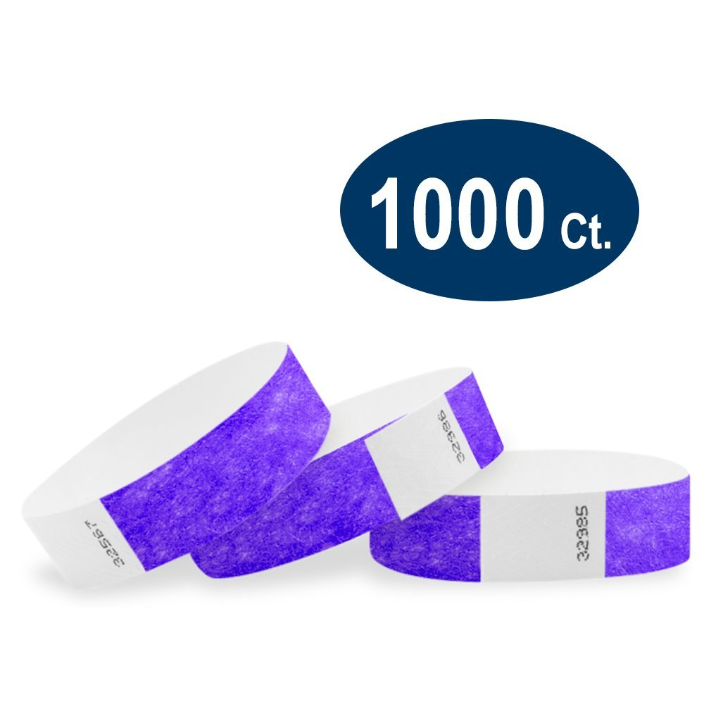 WristCo Purple 3/4'' Tyvek Wristbands - 1000 Pack Paper Wristbands For Events