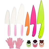 Pocomoco Kids Kitchen Knife Set Children Safe Cooking Plastic Knives Set with Cut-resistant Gloves (Ages 6-12…