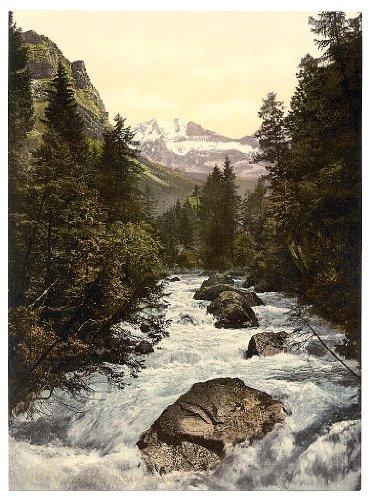 10 x 14 Antique Photochrome Image of: c. 1890 - 1906 Kander Valley and Doldenhorner, Bernese Oberland, Switzerland Professionally Reprinted