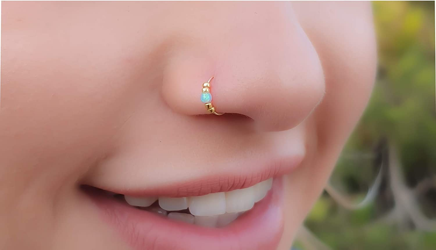 Amazon Com Thin 14k Gold Filled Tiny Opal Nose Piercing Hoop 2