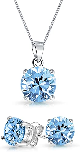 Blue Round Topaz .925 Sterling Silver Solitaier pendant necklace