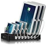 Satechi 7-Port USB Charging Station Dock for iPhone X, 8 Plus, 8, iPad Pro, Air, Mini, Samsung Galaxy S8, Nexus, HTC and more (Black)