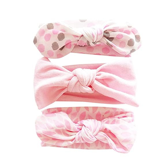 b913a99972cc Voberry  Baby-Girl s 3Pcs Floral Headband Sweety Soft Elastic Bowknot Hairband  Set (Approx) 20-33CM