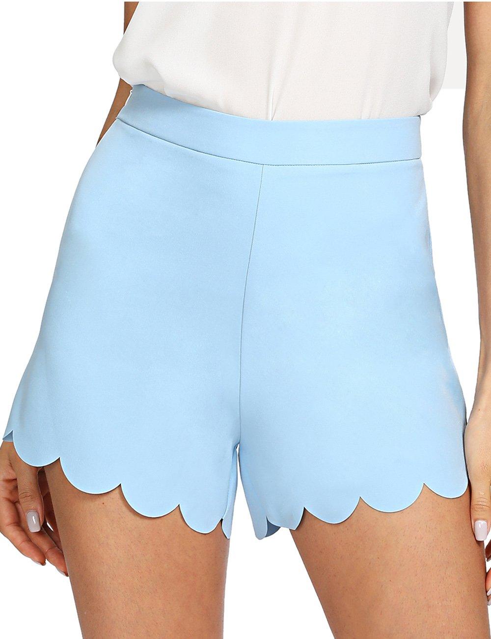 Romwe Women's Casual Scallop Hem Summer Walking Shorts Blue XS
