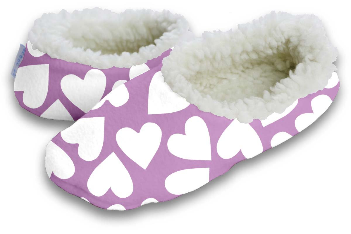 Snoozies Simple Hearts Women's Sherpa Footcoverings (Large)