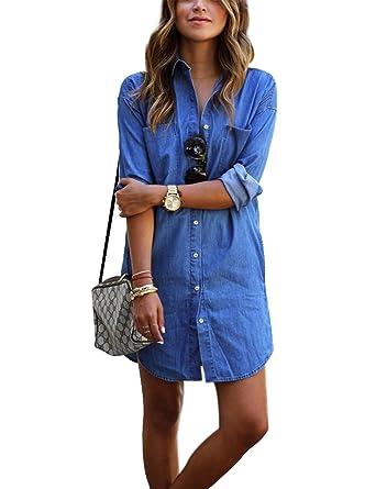 8300261458db Mini Denim Robe Femme à Manches Longues Mode Tunique Chemisier en Jeans  Hauts avec Bouton Poche