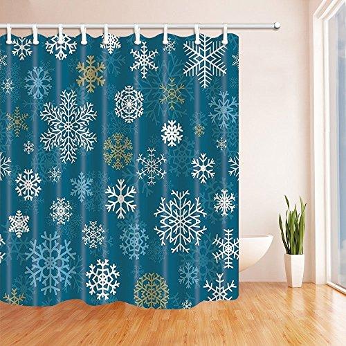 SZDR Shower Curtain Bedroom Curtain Christmas Snowflake Blue