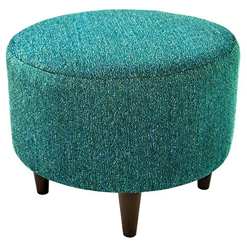 - MJL Furniture Designs Sophia Collection Oliva Series Contemporary Round Ottoman, Teal/Wooden Legs