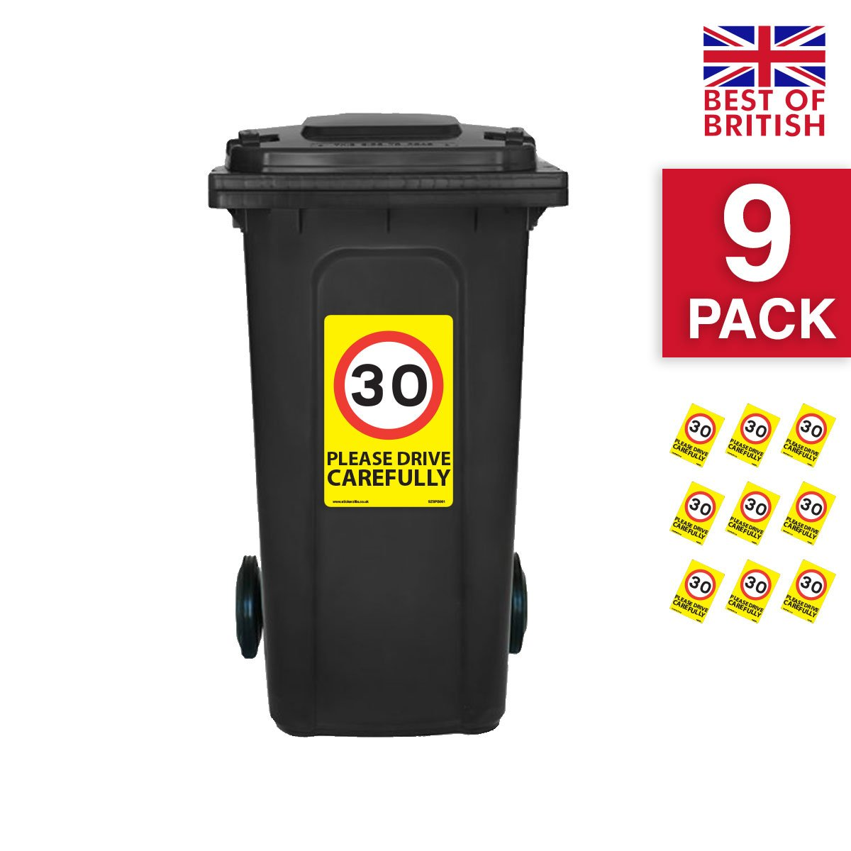 30 Mph Speed Signs [9 X Pack] - A4 Vinyl Stickers, Yellow Background Ideal For Wheelie Bins Stickerzilla
