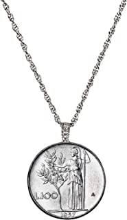 product image for Italian Lire Coin Pendant Necklace - L.100 Jewelry Lira Coin from Italy for Collectors with Silvertone Chain and Lobster Claw Clasp - Full Shiny Steel Composition for Women | Elegant Gift Box Included