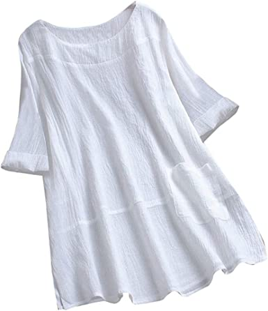 STRIR Camisas Mujer Sexy de Talla Grande, Las Mujeres de Manga Corta Casual Loose Tunic Tops Camiseta Blusa Suelta para Mujer Blusas Elegante señoras niña: Amazon.es: Ropa y accesorios