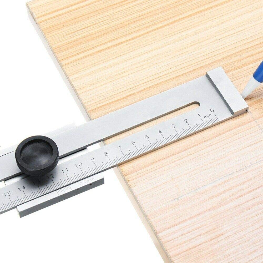 gris clair BE-TOOL Jauge de marquage en acier inoxydable 1 pi/èce jauge de marquage en m/étal outils de mesure de travail du bois
