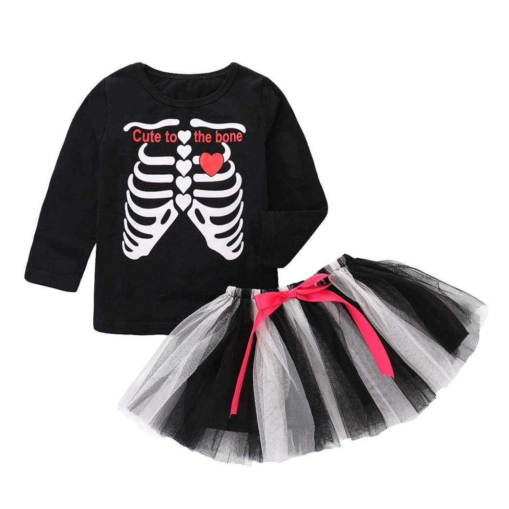 Little Girl Halloween Costume Sets,Jchen(TM) Toddler Baby Kids Girls Skull Letter Print Long Sleeve Tops+Bow Skirt Sets for 0-5 Y (Age: 3-4 Years Old)