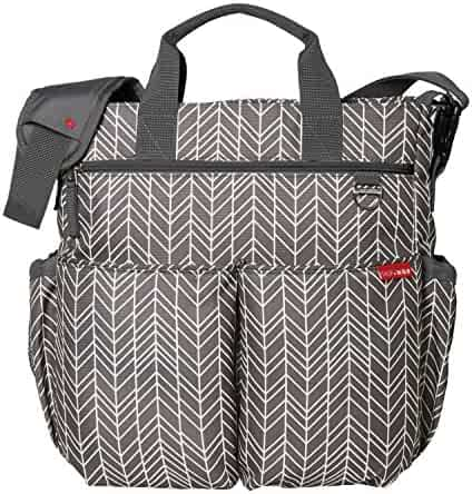Skip Hop Duo Signature Diaper Bag with Portable Changing Mat, Grey Feather, Grey