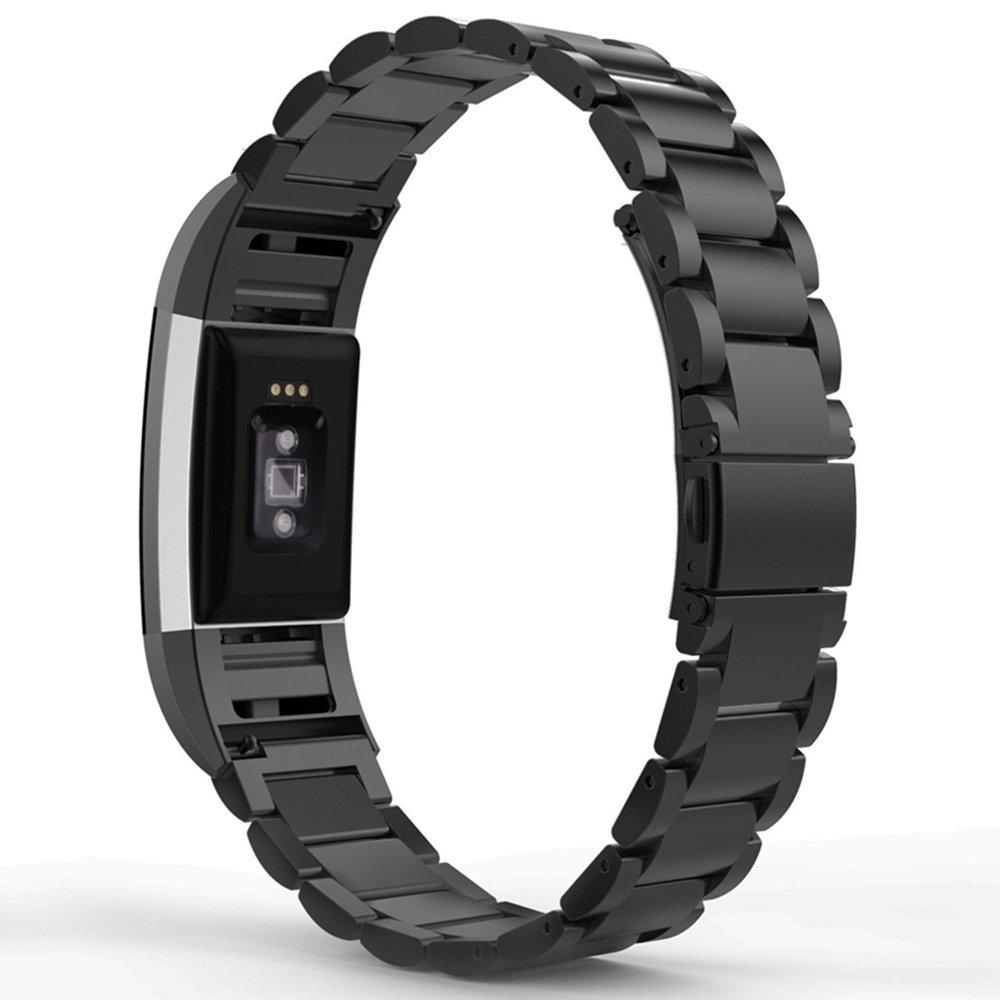 ステンレススチール時計バンドストラップfor Fitbit Charge 2 – ブラック  B0799FR4B5