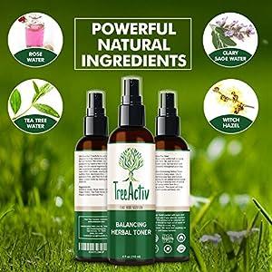 TreeActiv Balancing Herbal Toner | Facial Skin Moisturizer | Witch Hazel | Rose Water | Clary Sage | Tea Tree | Natural Astringent | Alcohol-Free | Reduce Oily Face Acne | Men, Women, Teens | 4 fl oz