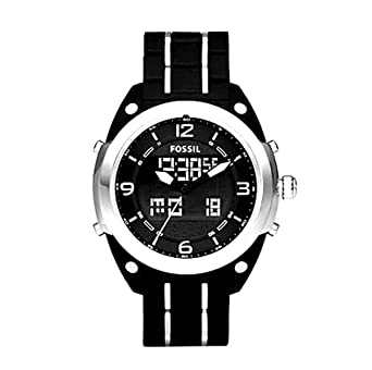 Fossil Mens BQ9381 Black Polyurethane Bracelet Black Analog-Digital Dial Watch