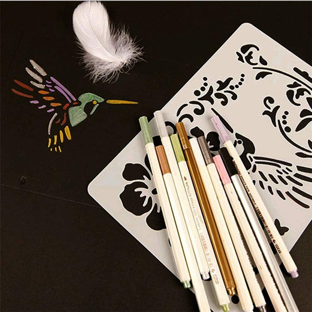 Drawing Painting Stencils,12 Pcs//Set DIY Drawing Painting Craft Stencils Scale Template Sets,Plastic Shapes Stencils Graphics Stencils for Journal//Notebook//Diary//Scrapbook//DIY Card//Art Craft Projects