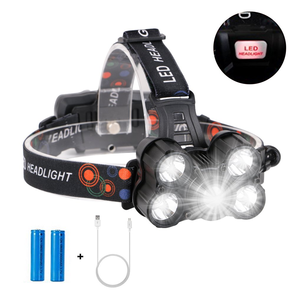 Eletorot LED Headlamp Headlight Head Torch LED Rechargeable Zoomable Flashlight Super Bright 1000 Lumens Waterproof Head Torch 4 Working Modes Helmet Light Perfect for Running Camping Hiking