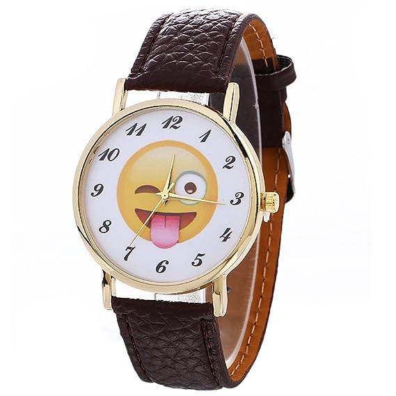 SODIAL (R) Neutral Cute Funny lengua Emoji Fashion piel cuarzo reloj de pulsera marrón