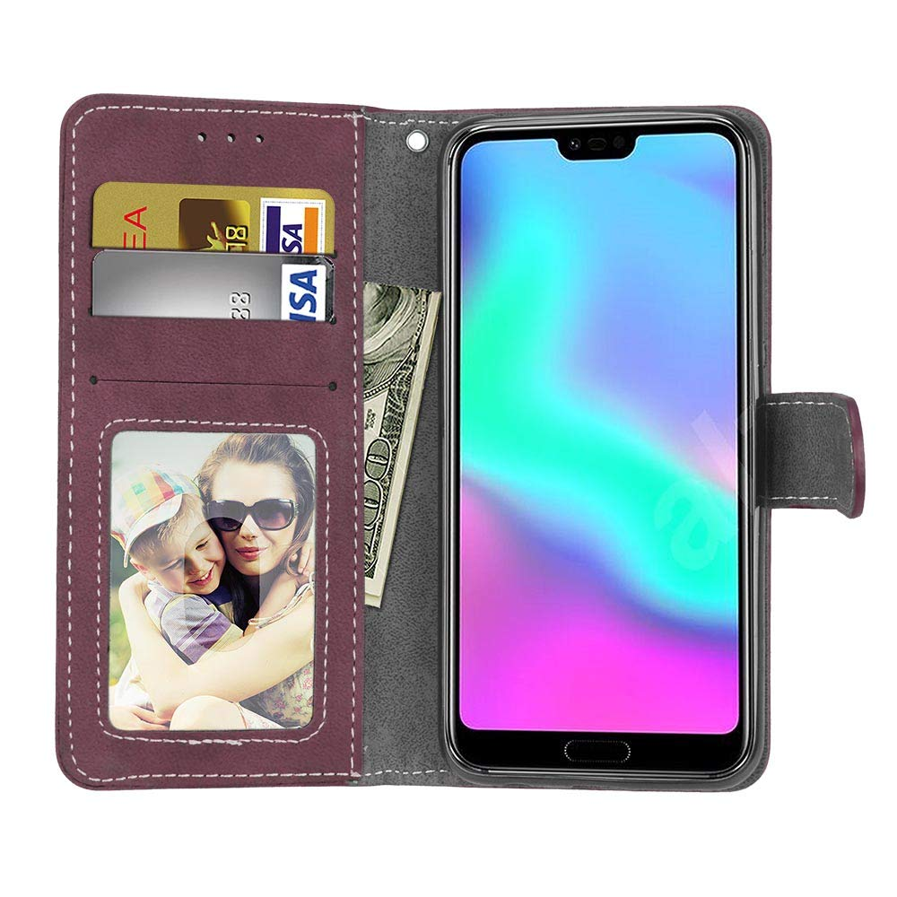 SEEYA pour Honor 10 Lite Etui Portable Coque Cuir V/ég/étalien Portefeuille Folio /à Rabat Housse Livre avec Emplacements pour Cartes Support Smartphone Pochette Honor 10 Lite Noir