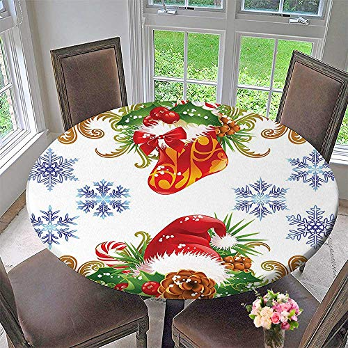 (Round Premium Table Cloth Classic Ative Design with Stocking and Santa Hat Mistletoe Snowfs Perfect for Indoor, Outdoor 35.5