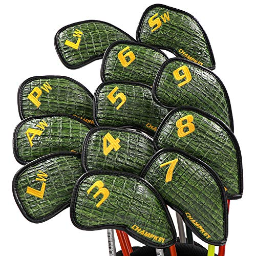 Champkey Monster Golf Iron Head Cover Pack of 12pcs - More Thick,More Protection,More Durable Club Covers Ideal for Titleist, Callaway, Ping, Taylormade,Cobra Etc (Monster-Green, LITE) ()