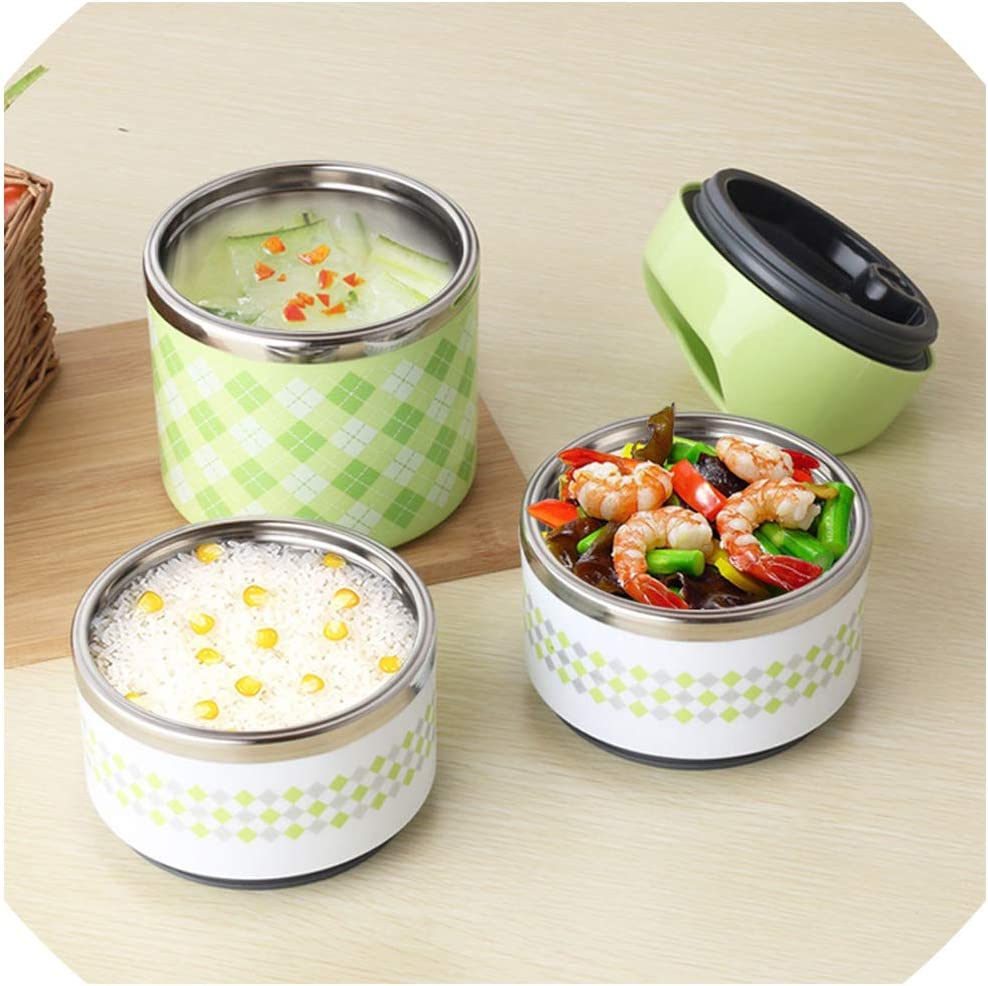 Thermal Lunch Boxs Portable Bento Box Leak Proof Stainless Steel For Kids Picnic Container For Food Storage,blue,1layer