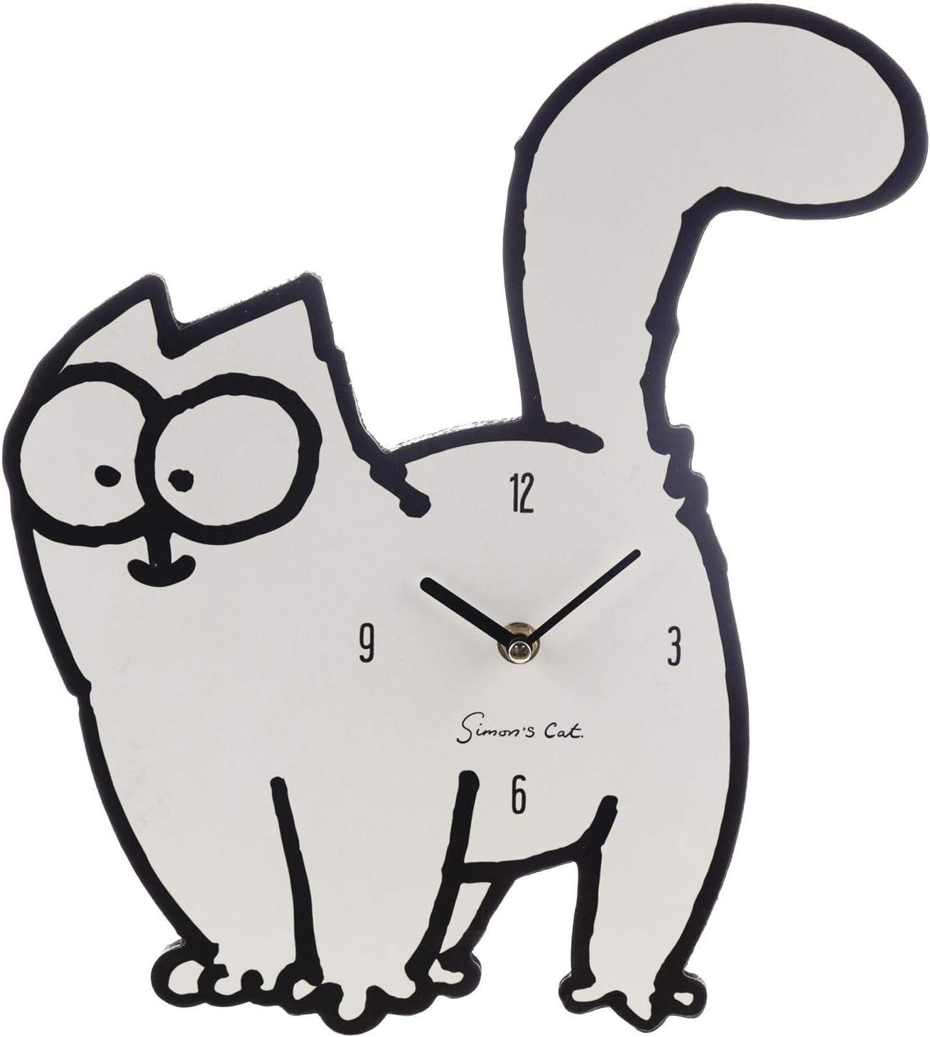 Simon's Cat Wanduhr - weiß