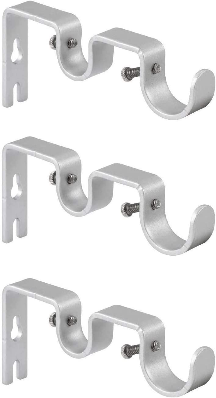 Sinrextraonry Curtain Rod Double Curtain Rod Hanging Brackets Wall Mount Heavy Duty,Adjustable Curtain Rod Holders Hardware for Window, Bedroom, Home Curtain rods,Drapery Rod (3,Silver)