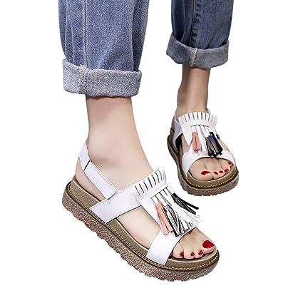 4ea0e1283ace Gyoume Womens Sandals Flat Shoes,Low Heel Sandals Summer Women Tassel  Platform Shoes (US
