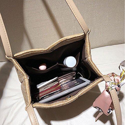 Fashion Rattan Beige Summer Beach Bag Bag Holiday Weave Woman Bag Bucket GAOQQ Bag Khaki Bandage Simple 4P6UqBnwI