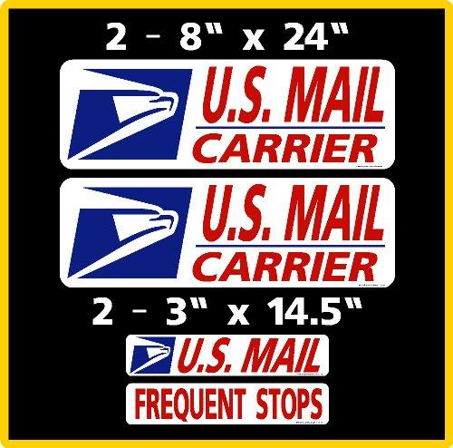 U.S. Mail Delivery Magnetic Sign Rural Carrier Magnet USPS 4 Piece Set Dark Blue