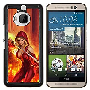 Dragon Case - FOR HTC One M9+ / M9 PLUS - sexy cleavage red fire sword hero woman - Caja protectora de pl??stico duro de la cubierta Dise?¡Ào Slim Fit