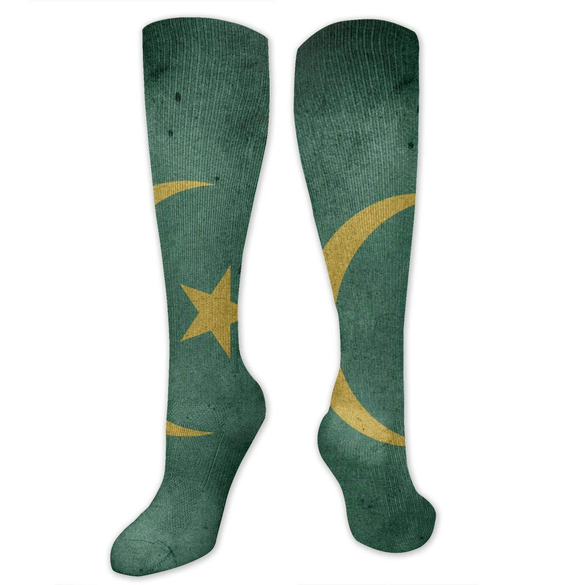 Chanwazibibiliu Mauritania Flag Mens Colorful Dress Socks Funky Men Multicolored Pattern Fashionable Fun Crew Cotton Socks