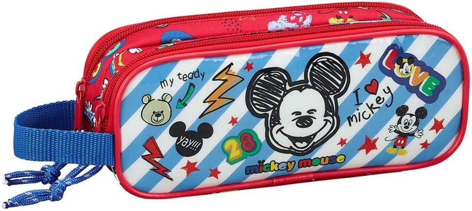 Estuche escolar con doble asa, 21 cm, Deluxe Mickey My Teddy: Amazon.es: Oficina y papelería