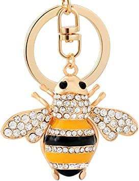 Womens Bag Charm,Key Ring,Yellow Bumble Bee Gold Tone,Diamante Inset Keychain