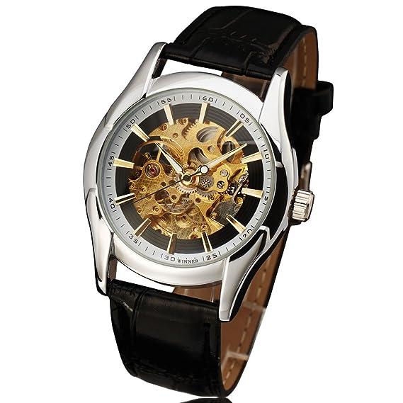 Winner Reloj Royal Carving automático negro correa de piel fina funda Hollow esqueleto funda relojes hombres