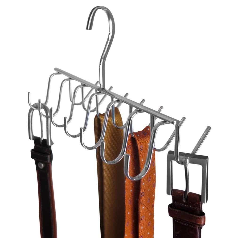 Evelots 14 Hook Chrome Tie, Belt, Scarf Hanger Closet Storage Space Saver Rack FBA_3324