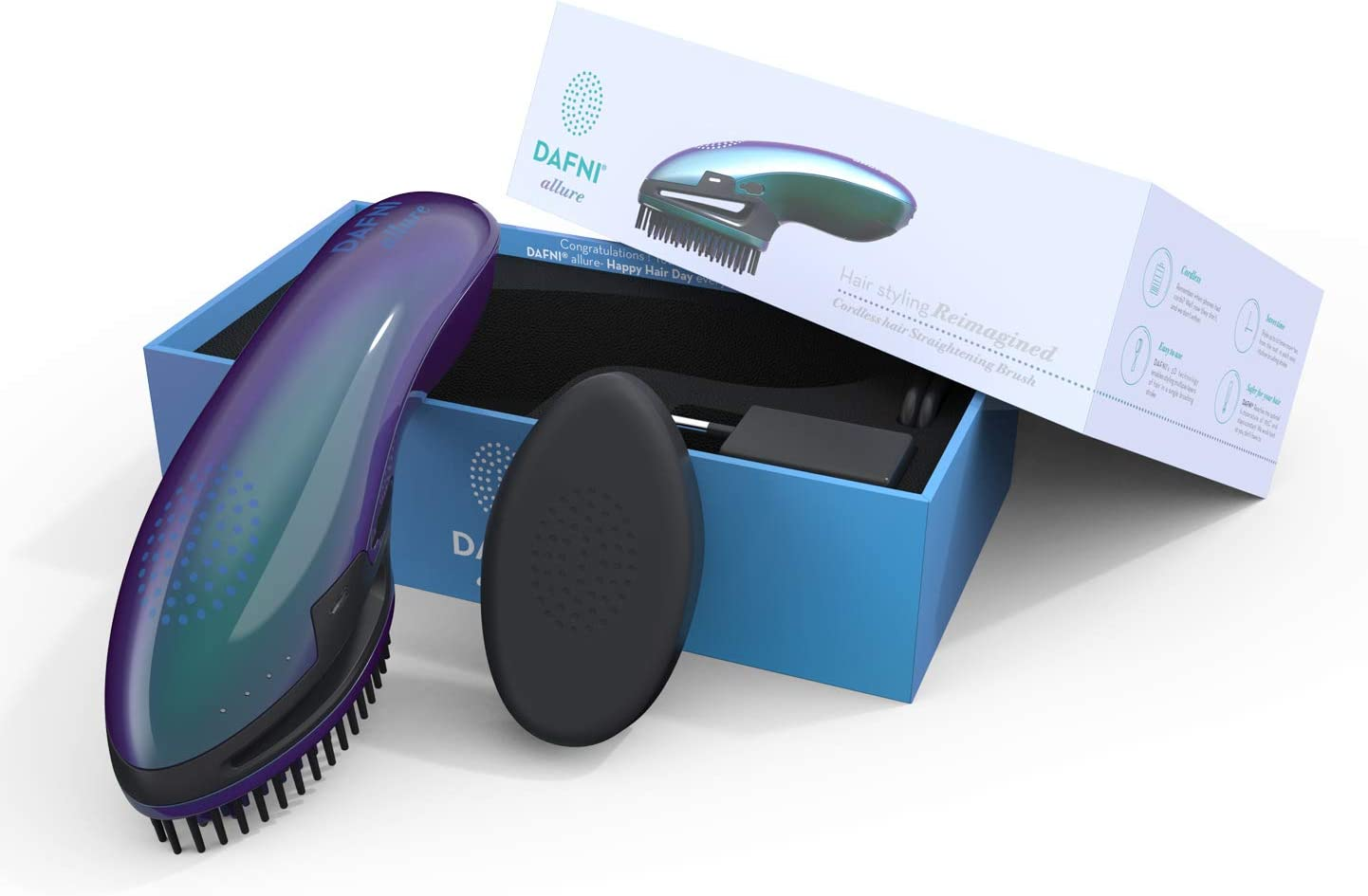 DAFNI Allure Portable Hair Straightening Brush Styles Hair Up to 10 Times Faster than a Flat Iron