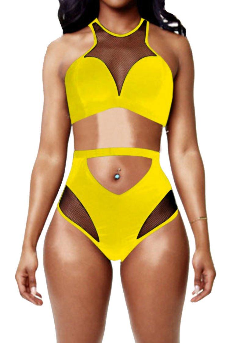 Pink Queen Women's Back Zip Mesh Spicy High-waist Racer Bikini Swimwear Yellow L