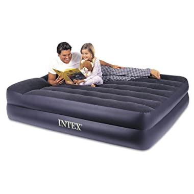 Intex Pillow Rest Raised Airbed with Built-in Pillow and Electric Pump, Queen, Bed Height 16.5