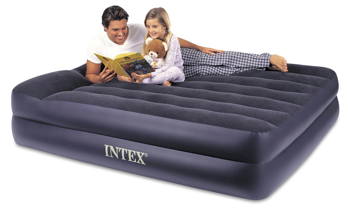 Intex Pillow Rest Raised Airbed with Built-in Pillow and Electric Pump, Queen, Bed Height 16.5''