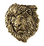 Creative Pewter Designs, Pewter Lion Head Handcrafted Wildlife Lapel Pin Brooch, 24k Gold Plated, MG102PR