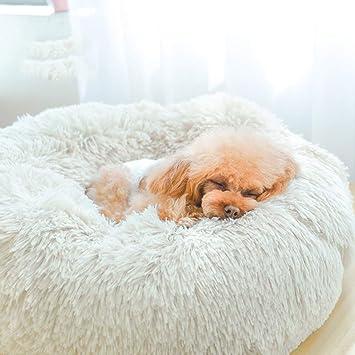 Hxyan Perrera Cat Cama Redonda Mascota Nido Perro pequeño y Mediano Invierno Peluche (Diámetro: 60 cm) (Color : Blanco): Amazon.es: Productos para mascotas